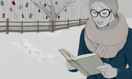 An Abby Wright illustration of a women reading a book outside in the snow